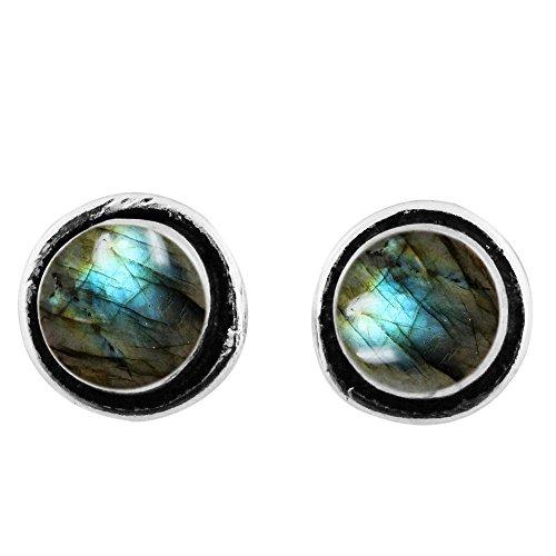 6x6mm Round Genuine Gemstones & 925 Silver Plated Stud Earrings