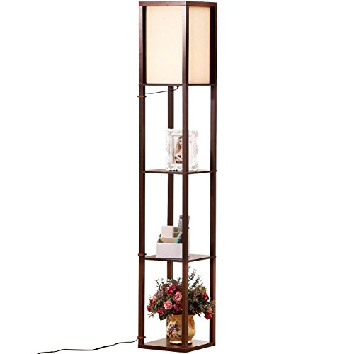 Brightech Maxwell - LED Shelf Floor Lamp - Modern Standing Light for Living Rooms & Bedrooms - Asian Wooden Frame with Open Box Display Shelves - Havana Brown