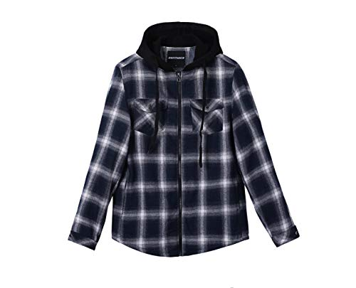 ZENTHACE Mens Thermal Fleece Lined Zip Up Hoodie Plaid Flannel Shirt Jacket Navy/White L