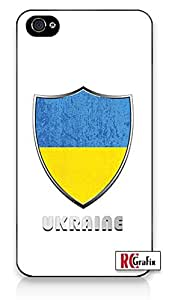 Premium Ukraine National Flag Badge Direct UV Printed iPhone 4 Quality Hard Snap On Case for iPhone 4 4S 4G - AT&T Sprint Verizon - White Case Cover