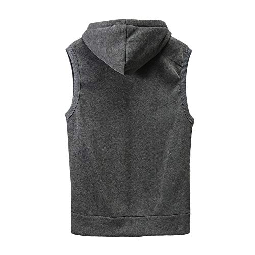 WUAI Clearance Men's Hoodie Jackets Sleeveless Slim Fit Waistcoat Solid Color Athletic Sports Tops(Grey,US Size S = Tag M) by WUAI (Image #1)