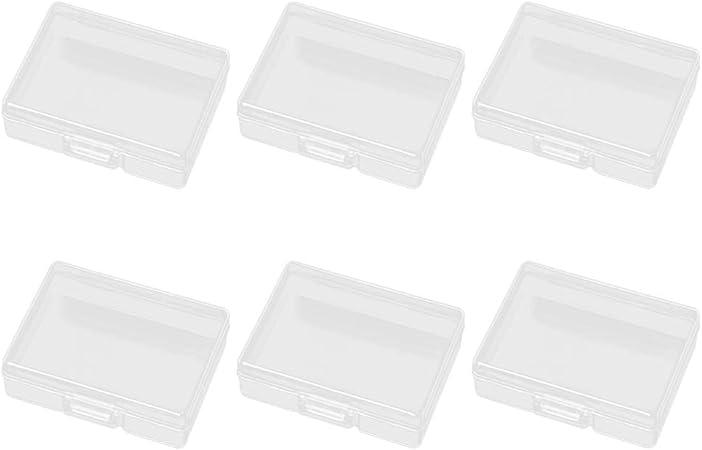 SUPVOX 6 Unids Rectangular Mini Caja de Almacenamiento Transparente de plástico Transparente Transparente Organizador de la colección de Joyas con Tapa para Cuentas aretes Pernos: Amazon.es: Hogar