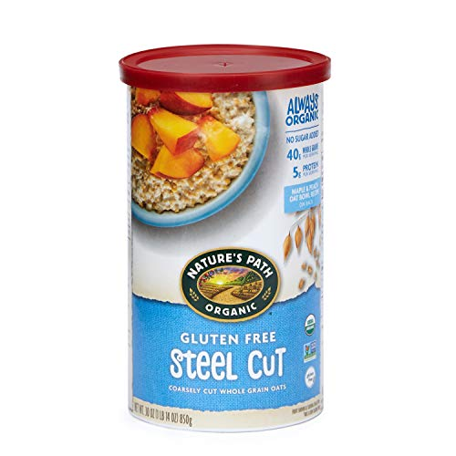 Natures Path Gluten Free Steel Cut Oatmeal, Healthy, Organic & Sugar Free, Gluten-Free, 1 Canister, 30 Ounces (Pack of 6)