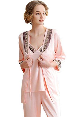 Awaye Satin Pajamas with Robe for Women 3/4 Sleeve Nightwear Three Piece V Neck Solid Home Sleepwear Set, Pink-black, US L: Tag XL -