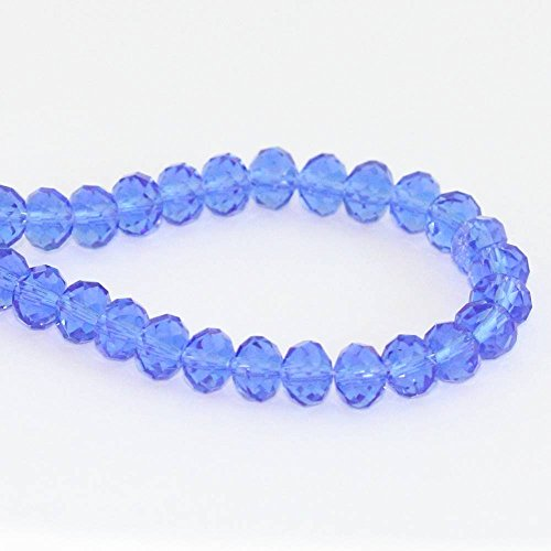 Blue Czech Glass Earrings - 1 Strand Top Quality Czech Rondelle Crystal Glass Beads 8mm Sapphire Blue #5040 Alternatives for Swarovski Preciosa Bead (~70-72pcs beads) CCR813