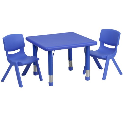 (Flash Furniture 24'' Square Blue Plastic Height Adjustable Activity Table Set with 2 Chairs )