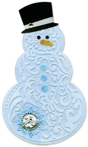 Sizzix Bigz Die with Textured Impressions Folder, Snowman and Hat by Beth - Die Snowman