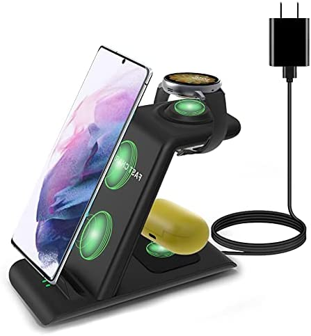 Wireless Charging Station Compatible with Samsung Wireless Charger Stand Galaxy Watch 3 Active 2/1 Galaxy S21/S20/S10/S10e/Note 20/10/9/8/Z Flip Galaxy Buds/Live Qi Multiple Devices Android Phone Dock