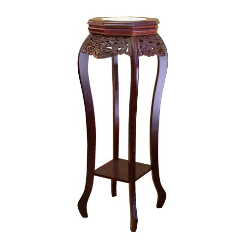 - ORE International H-33 Flower Stand with Ceramic Top, Cherry