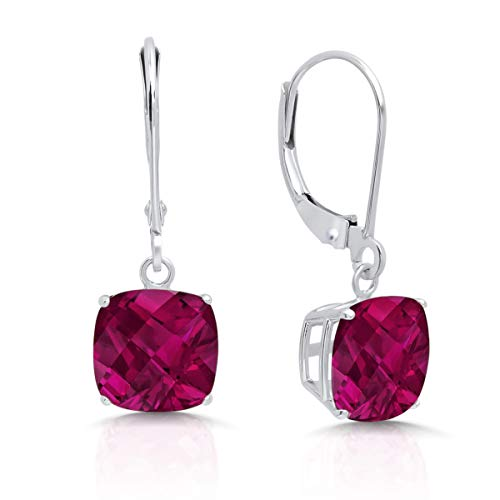 14k White Gold Created Ruby Dangle Leverback Earrings (8mm)