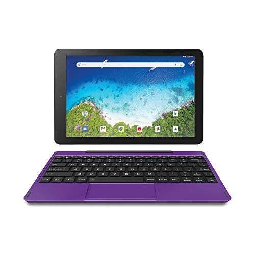 Newest Premium High Performance RCA Viking Pro 10.1″ 2-in-1 Touchscreen Laptop Computer Tablet Quad-Core Processor 1G Memory 32GB Hard Drive Detachable-Keyboard Android 8.1 (10 Inch, Purple)