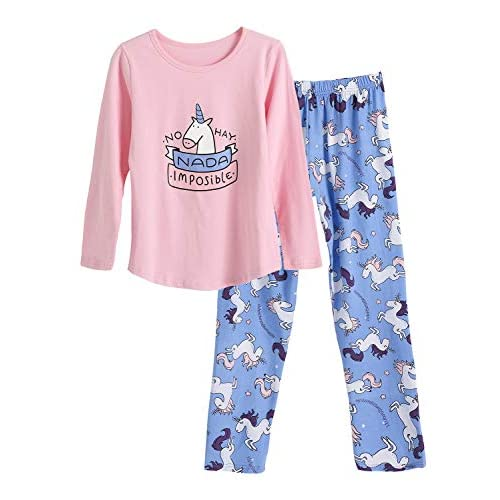 10-12 Large Girls 2 Piece Cozy Unicorn Graphic Top and Loose Fit Pant Sleepwear Set
