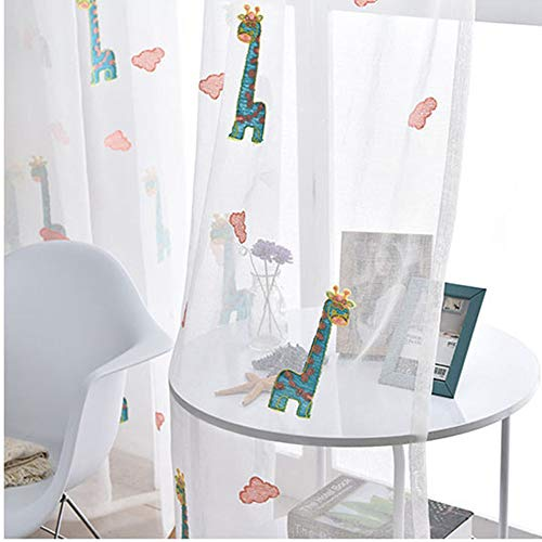 Sheer Window Curtain Panels for Living Room Country Rustic Embroidered Giraffe Rod Pocket Cartoon Window Treatment Drapes Gauze Voile Panels for Kids Boys Girls Bedroom 1 Panel AiFish W75 x L84 inch by AliFish (Image #2)