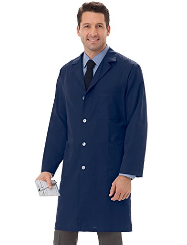 Meta Men's and Women's Unisex 40 Inch Labcoat With Three Outside Pockets And One Inside Pocket (Navy, Medium)