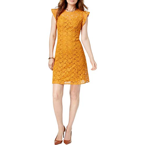 Michael Michael Kors Womens Lace Mini Casual Dress Yellow 0 (Michael Kors Casual Dresses)