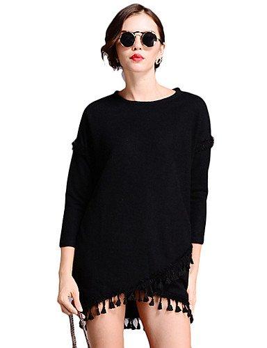 PU&PU Robe Aux femmes Ample Simple,Couleur Pleine Col Arrondi Mini Polyester , black-14 , black-14