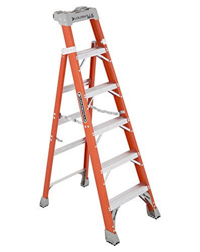Louisville Ladder Cross-Step FXS1506 Fiberglass 300 lb Duty Rating Type IA Step/Shelf Ladder, 6', Orange by Louisville Ladder