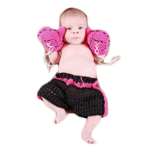 Newborn Baby Photography Props Boy Girl Photo Shoot Outfits Cute Boxing Style Crochet Knitted Costume Glove Pants]()