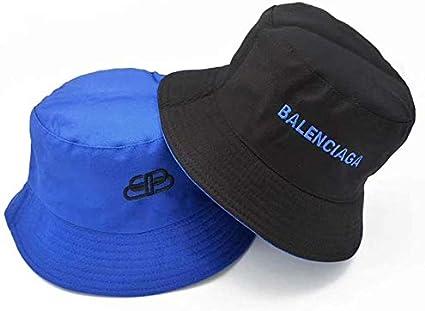 Doble Cara del Sombrero del Cubo Hombres Mujeres Sombrero del Cubo Plegable Negro Ocio Bordados Sombreros del Cubo Pesca Sombreros de Sun Recorrido Que acampa