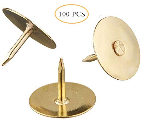 Hamosky Thumb Tacks Round Head Push Pins Office Steel Drawing Pins for Home,School,Sharp Steel Points,Brass/Gold Color,Pack of 100 Pieces
