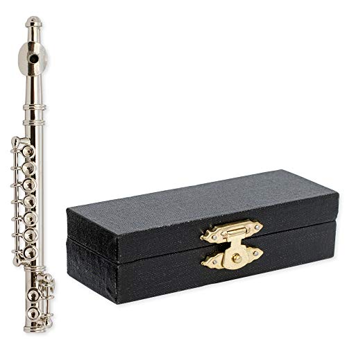 Mini Flute - Silver Flute Music Instrument Miniature Replica on Stand with Case, Size 3 in.