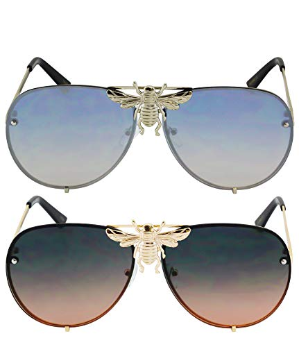 - Flawless - Pilot Sunglasses Oversize Metal Frame Vintage Retro Men Women Shades (2 PACK: Silver and Ombre)