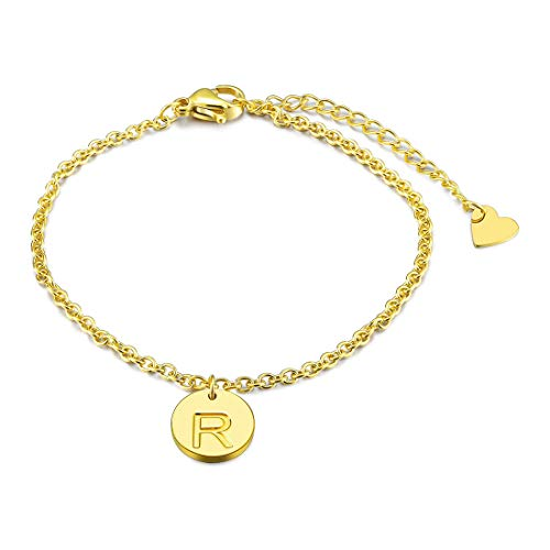THREE KEYS JEWELRY Initial R Bracelet 316L Stainless Steel Gold Tone Heart with Letter Alphabet Disc Pendant for Womens and Girls(6.5+1.5