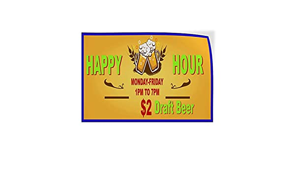 Custom Door Decals Vinyl Stickers Multiple Sizes Happy Hour Days Times Business Happy Hour Signs Outdoor Luggage /& Bumper Stickers for Cars Yellow 24X16Inches Set of 10