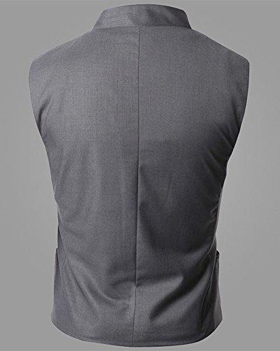 Homme Manche Sans Casual Couleur Fit Blazer Slim Unie Costume Gilet Mariage Gris Veste gwXFrqRg