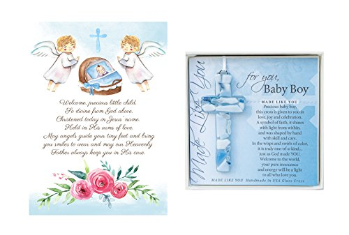 Christening Gifts For Boys Gift Set Blue Handmade in USA Glass Cross for Baby Boys and Made in USA Baptism Prayer Card for Boys Great Baptism Gifts fo…