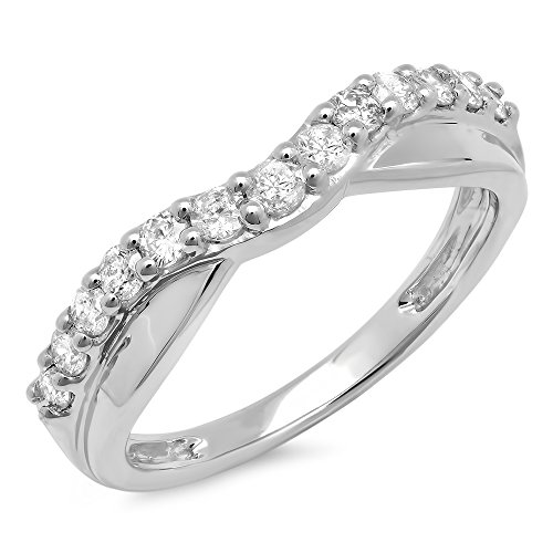 0.55 Carat (ctw) 14K Gold Round Cut Diamond Ladies Anniversary Wedding Guard Contour Band 1/2 CT