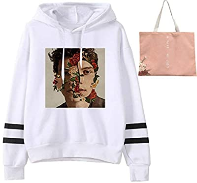 Shawn Mendes Print Plus Velvet Sweatshirt Canvas Shoulder Bags Hooded Loose Pullover Backpack Shopping Bag Small
