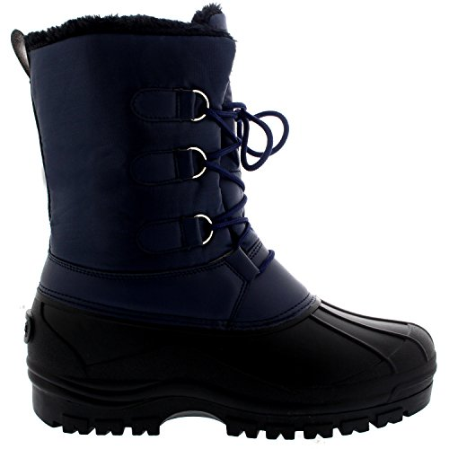 Mens Muck Lace Up Korte Nylon Wintersneeuw Regen Lace-up Casual Eend Laarzen Marine