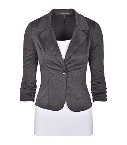 (Auliné Collection Women's Casual Work Solid Color Knit Blazer Heath Charcoal 1X)