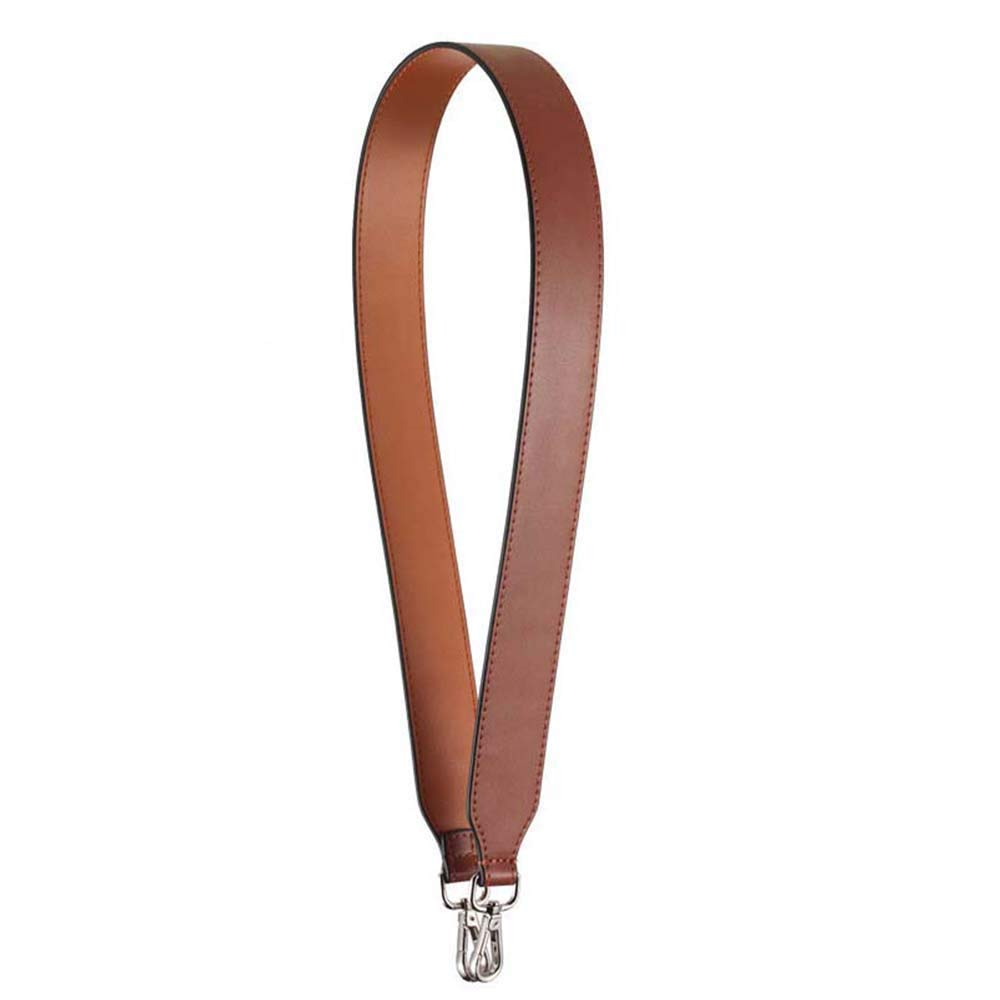 Both Side Leather Wide Strap for Shoulder Bag/Two Color Replacement Strap (Brown Face/Light Brown Reverse Silver Hook)