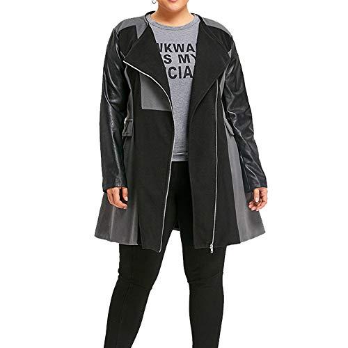 FeiXiang Hiver Chaud Femmes Patchwork en Cuir de Laine Veste Longue Manteau Manteau Outwear Manteau Long en Laine de Grande Taille pour Femme Gris