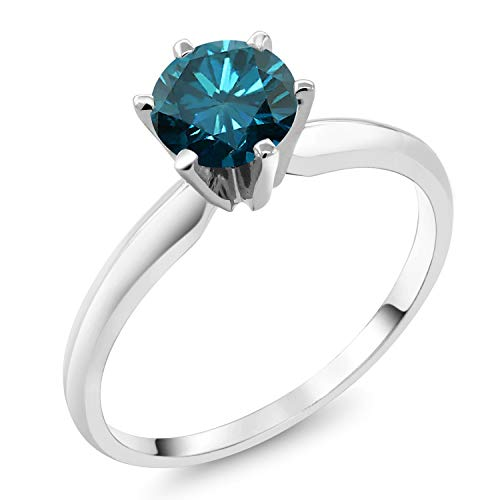1.10 Ct Round Blue Diamond 18K White Gold Ring (Size 8) from Gem Stone King