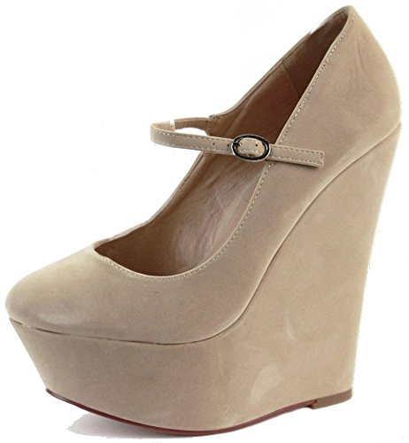 WEDGE SANDALS WOMENS Style STRAP STRAPPY ANKLE LADIES CHUNKY J SHOES Beige SIZE HEEL PLATFORM Suede HIGH Faux wAqTRCSq