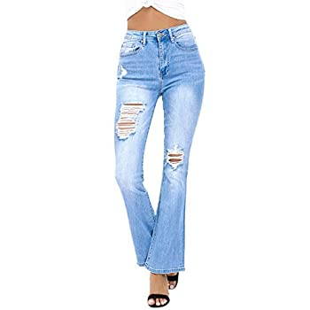 Resfeber Ladies's Ripped Bootcut Denims Distressed Flare Denims Stretch Bell Backside Denims with Holes