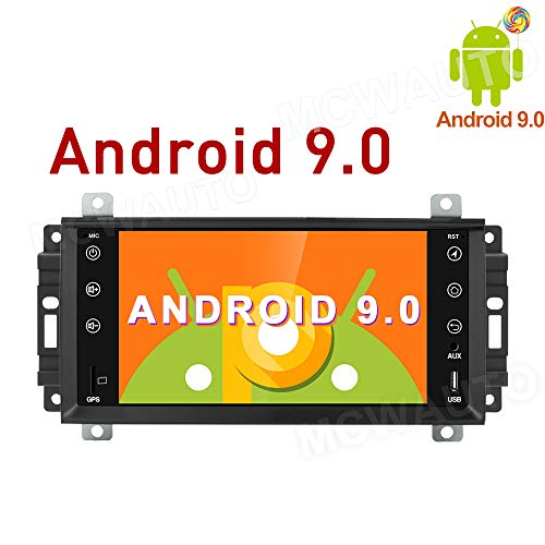 MCWAUTO 7 Inch Android 9.0 Car Radio Media Player for Dodge Ram Challenger Jeep Wrangler JK Head Unit Auto GPS Navigation with 4G WiFi Bluetooth