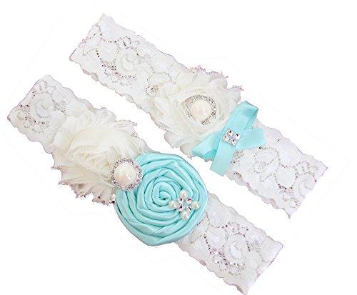 (Wedding Garter Set Baby Blue Turquoise/Ivory Chiffon Flowers w/Pearl Rhinestone Bow)