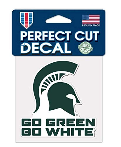 WinCraft NCAA Michigan State University Spartans 4 x 4 inch Go Green Go White Perfect Cut Decal