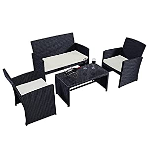 Goplus 4 PC Rattan Patio Furniture Set with Tempered Glass, 3 Sofas, Table, 3 Cushioned Seats Garden Lawn Sofa Cushioned Seat Wicker Sofa
