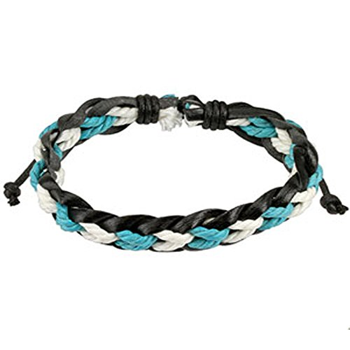 Black Leather Bracelet with Blue and White Braided Strings Center, Adjustable Size by Sliding Tie-Knot Closure and One Size Fits Most (Extends upto 10
