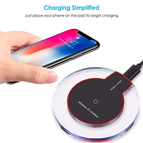 (JonerytimeUltra-Thin Clear Mini Qi Wireless Charger Charging Pad for iPhone Xs/XS Max/XR White)