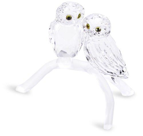 - Swarovski Owls On Branch, Set of Two