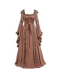 HHmei Women's Vintage Celtic Medieval Dress, Renaissance Gothic Cosplay Dresses