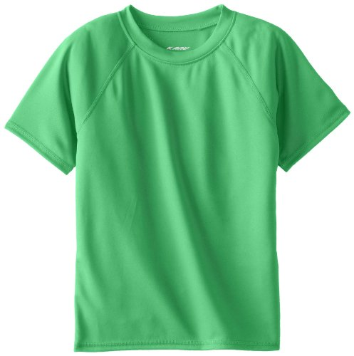 Kanu Surf Toddler Boys' Short Sleeve UPF 50+ Rashguard Swim Shirt, Solid Green, 4T