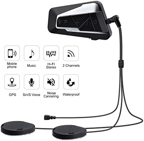 Motorcycle Helmet Intercom Interphone and Audio for MP3 Player//GPS//Walkie-Talkie Single AUTOLOVER BT-S2 1000M Motorbike Bluetooth Headset Hands Free /& FM Radio