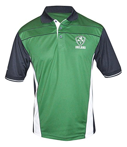 Croker Ireland Performance Shirt, Large - Green Polyester Embroidered Athletic Polo